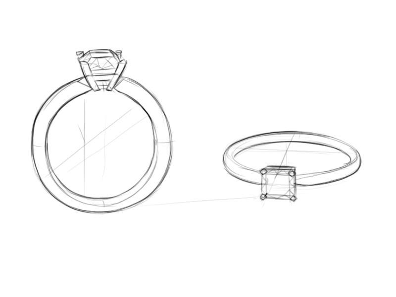 Черно-белый эскиз кольца с бриллиантом радиант