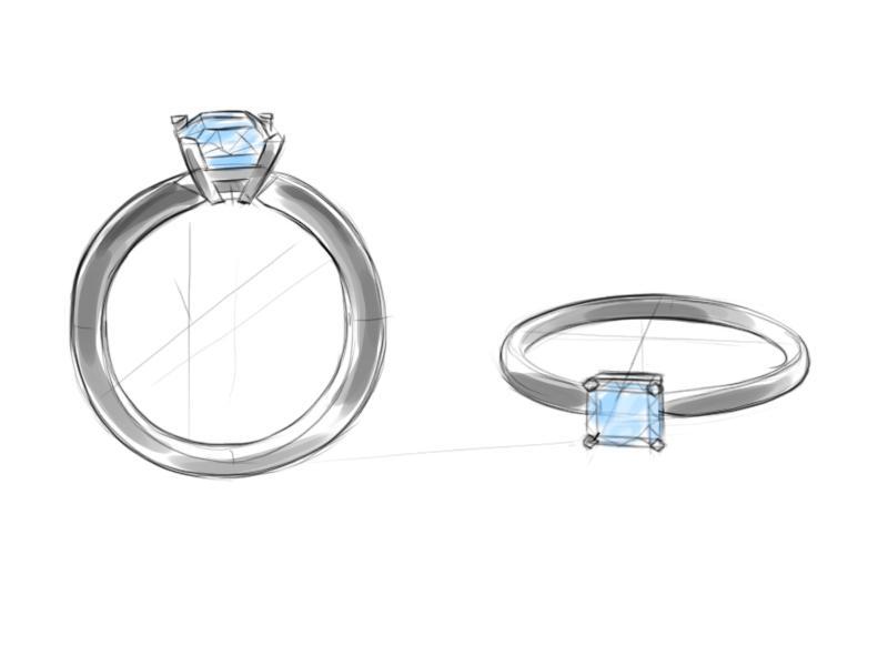 Цветной эскиз помолвочного кольца с бриллиантом формы огранки Радиант.